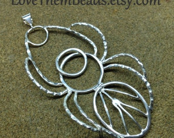 Silver Spider Pendant, 3D, artisan crafted soldered sterling silver wire pendant hand made by LoveThemBeads
