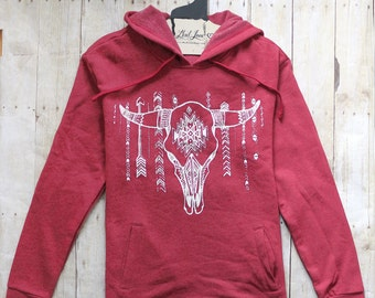 Unisex Medium- Red Tri-Blend Hooded Sweatshirt with Cow Skull Print