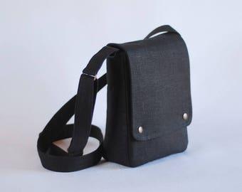 Black linen messenger bag