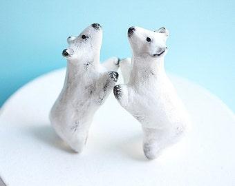 Clay Polar Bear Cake Topper - Polar Bear Cake Topper - Wedding Cake Topper - Wedding Anniversary - Birthday Cake topper