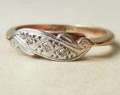 Bague Art déco diamant défilement, 9 k or, platine et diamant bague de fiançailles environ taille US 6