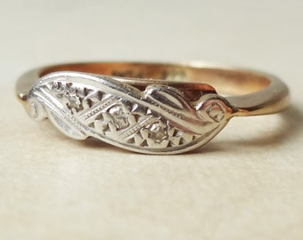 Art Deco Diamond Scroll Ring, 9k Gold, Platinum and Diamond Engagement Ring Approx. Size US 6