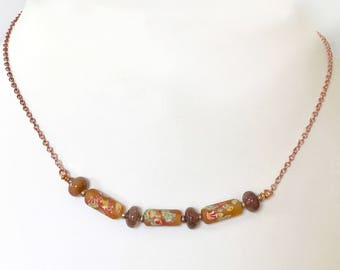 Vintage Millefiori bead necklace . Japanese beads. Rultilated quartz.