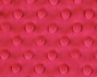 ON SALE - 40% Off Top Quality Watermelon Pink Minky Dot Fabric By The Yard