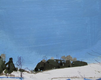 February 16, 3:30 pm, Original Winter Landscape Collage Painting on Panel, Stooshinoff, Ready to Hang