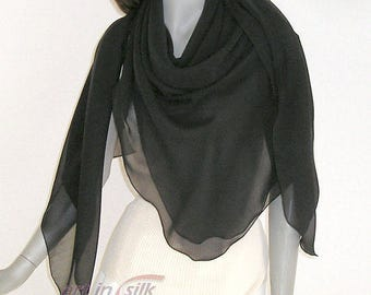 Black Large Square Silk Chiffon Scarf Coverup, Sheer Evening Shawl, Formal Special Occasion, Plus Size L XL XXL.