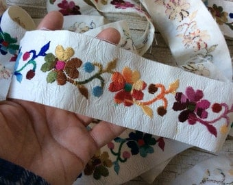 Vintage Leather Trim,Rainbow Flowered,Colorful trim,Leather,Embroidered,Floral Trim,Leather Edging,Machine Embroidery,Flower Power