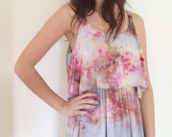 Hand Dyed Playa Dress in Sunrise ,  Empire Waist with Ruffle, Rayon Gauze, Anna Joyce, Portland, OR,