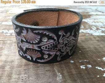 40% OFF- Custom Leather Cuff-Create Your Own--Word Cuff-Tooled Leather