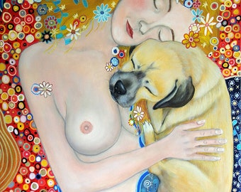 Gustav Klimt Inspired Mama and Baby Figurative Fine Art Print by Carol Iyer