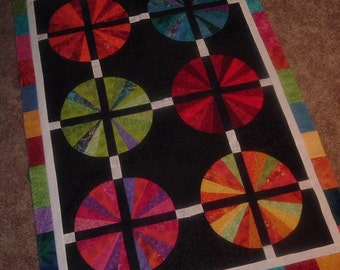Quilt Top to Finish Vibrant Wedge Wheels of Color 34 /12 x 49 inches
