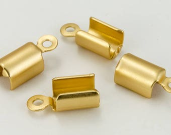 5mm x 6mm Fold-Over Matte Gold Cord Crimp with Loop #MFF110