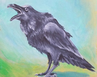 "I Have Something to Say Crow Original Acrylic Painting 8"" x 8"""