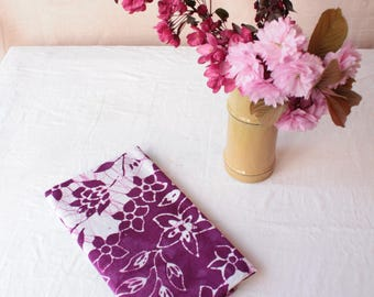 batik tea towel. flowers stripes magenta