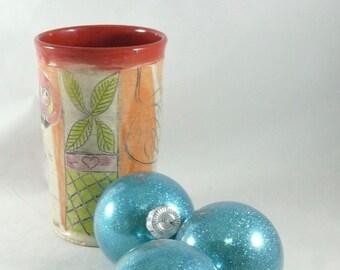 Gift for Him, Ceramic Pencil Holder with owl, Teacup, Vase, Ceramic toothbrush holder, wine tumbler, pottery mug kitchen utensil holder 631