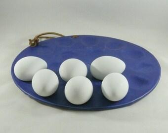 Deviled Egg Plate, Egg Holder, Serving Dish, Handmade Cobalt Blue Platter for eggs, oysters, clams, appetizers - Easter Egg Dish