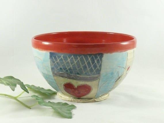 Ceramic soup bowl with owl, carved art bowl, key bowl, pottery bowl, kitchen decor, art vessel, dorm room decor, ice cream bowl 743