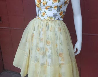 """1950s Floral Print Sundress 