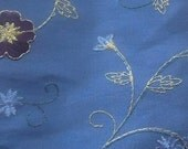 CLEARANCE Blue embroidered floral fabric, 24 x 30 inches