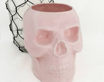 Pink Skull Ceramic Toothbrush Holder, Pencil Pen Holder, Tool Caddy Pencil Desk Accessory or Flower Planter Kitchen Spoon Container