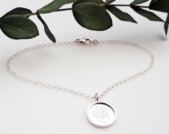 Sterling Silver Handprint Charm Bracelet
