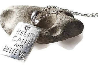 Personalized Keep Calm and Believe Silver Necklace, Keep Calm, Encouragement Jewelry, Meaningful Jewelry, Romanza Jewelry