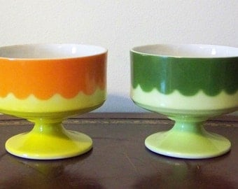 Vintage Japan Footed Sherbet Dish Bowls Set of 2 Citrus Colors Orange Yellow Lime Green