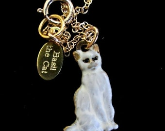 ON SALE Teensy Tiny Vintage Siamese Cat Charm Necklace