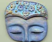 Polymer Clay Buddha textured Blue turquoise Face Shard  BFSH 1