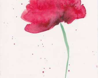 Red Poppy III Watercolor Original