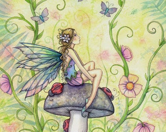 A Happy Place - Flower Fairy with Ladybugs  Fine Art Giclee Print by Molly Harrison 5 x 7