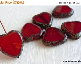 25% OFF Czech Glass Beads Heart 15mm Milky Oxblood Red Picasso (G - 731)