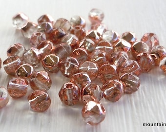 Czech Glass Beads - 3mm English Cut Nugget Beads Apollo Gold 50 - Perfect Beads for Beaded Wraps - Bead Weaving