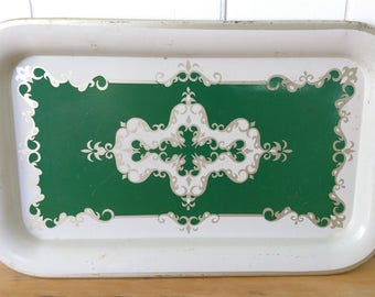 vintage green scrolling tray