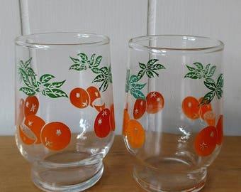 NEW ROOF SALE 2 vintage orange juice glasses