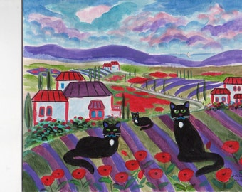 ORIGINAL PAINTING, 3 Black CAts in Tuscany with Poppies and Lavender, on Their Vacation, by DM Laughlin