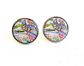 Oakland Map Dime Coin Stud Earrings - Map Jewelry- Eco Gift - dime jewelry - Oakland Jewelry - Coin jewelry - Repurposed - Upcycled - Maps