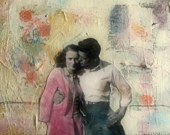 Painting romance Vintage couple lovely original  mixed media  on canvas Heather Murray