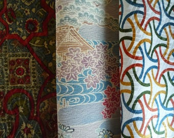 Craft Supply Scrap Silk Kimono Fabric Set of 3, Vintage Recycled Asian Textile, Japanese Fabric for Quilting, Doll making etc.
