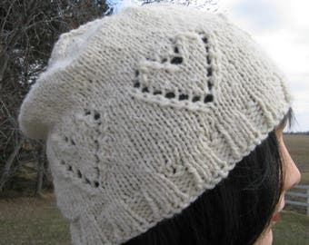 Hand knit Hat, Beanie, White Alpaca Wool Heart Hat