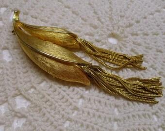Vintage Kramer Gilt Tassel Brooch Gold Tone Large Brooch