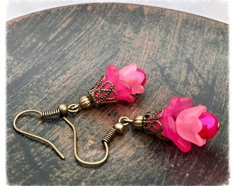 Pink earrings, Flower earrings,  Dangle & Drop earrings, Earrings for women, pink flower earrings, jewelry gift for mom by pinkicejewels
