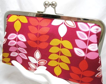 Coupon Organizer Purse Pink Leaves