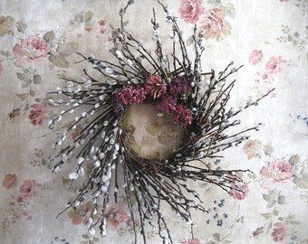 PUSSY WILLOW  WREATH  all natural spring decoration Number Three