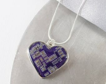 Circuit Board Heart Necklace Violet, Purple Recycled Circuit Board Jewelry, Love Necklace, Geeky Heart Jewelry, Nerdy Anniversary Gift
