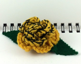 Crocheted Rose Hair Clip - Yellow and Black (SWG-HC-HWHU03)