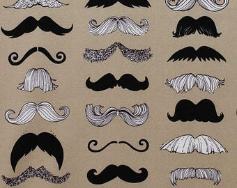 Where's My Stache Alexander Henry Taupe Tan Cotton Fabric 1/2 yard