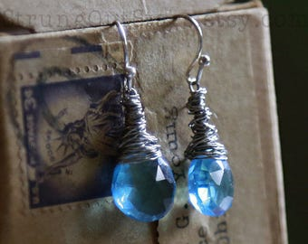 Ice Queen - Strung-Out Recycled Guitar String Earrings with blue quartz