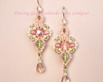 Macrame Earrings in pastel colors, Peach Pink Green Earrings, Beaded Earrings, Fleur style