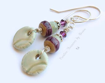 Plum Porcelain Beads Aqua Porcelain Discs Aquamarine Gemstones Purple Sterling Silver Earrings Amethyst Swarovski Crystals
